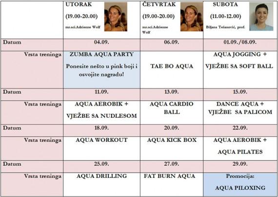 Aqua fitness, mjesec septembar 2012.